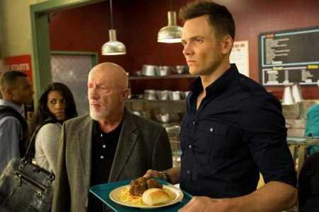 "COMMUNITY -- ""Introduction to Teaching"" Episode 502 -- Pictured: (l-r) Jonathan Banks as Hickey, Joel McHale as Jeff Winger -- (Photo by: Justin Lubin/NBC)"