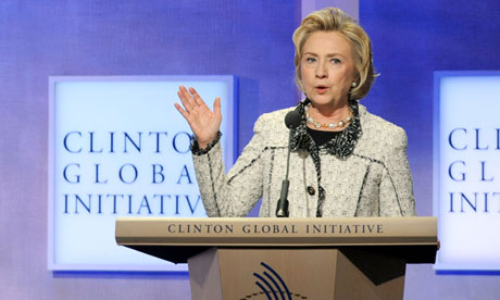 Hillary Clinton speaks at the Clinton Global Initiative in New York