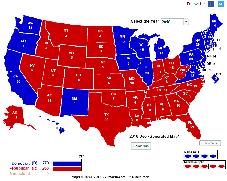 Projected 2016 electoral map