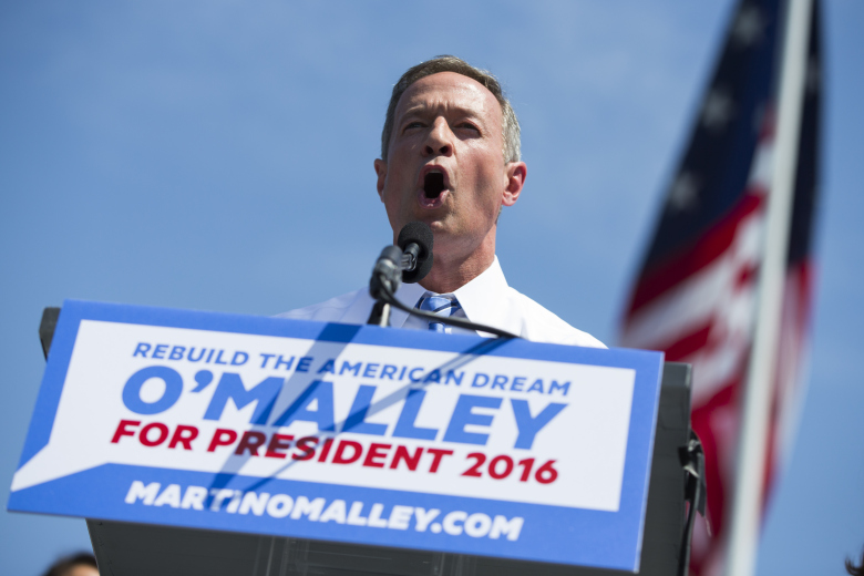 Former Maryland Gov. Martin O'Malley speaks during an event to announce that he is entering the Democratic presidential race, on Saturday, May 30, 2015, in Baltimore. O'Malley has presented himself to voters as a next-generation leader for the party, pointing to his record as governor on issues such as gay marriage, immigration, economic issues and the death penalty. (AP Photo/Evan Vucci)