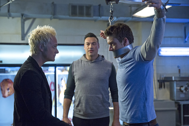 "iZombie -- ""Dead Rat, Live Rat, Brown Rat, White Rat"" -- Image Number: ZMB112B_0203 -- Pictured (L-R): David Anders as Blaine DeBeers, Aleks Paunovic as Julien, and Robert Buckley as Major Lilywhite -- Photo: Liane Hentscher/The CW -- © 2015 The CW Network, LLC. All rights reserved."