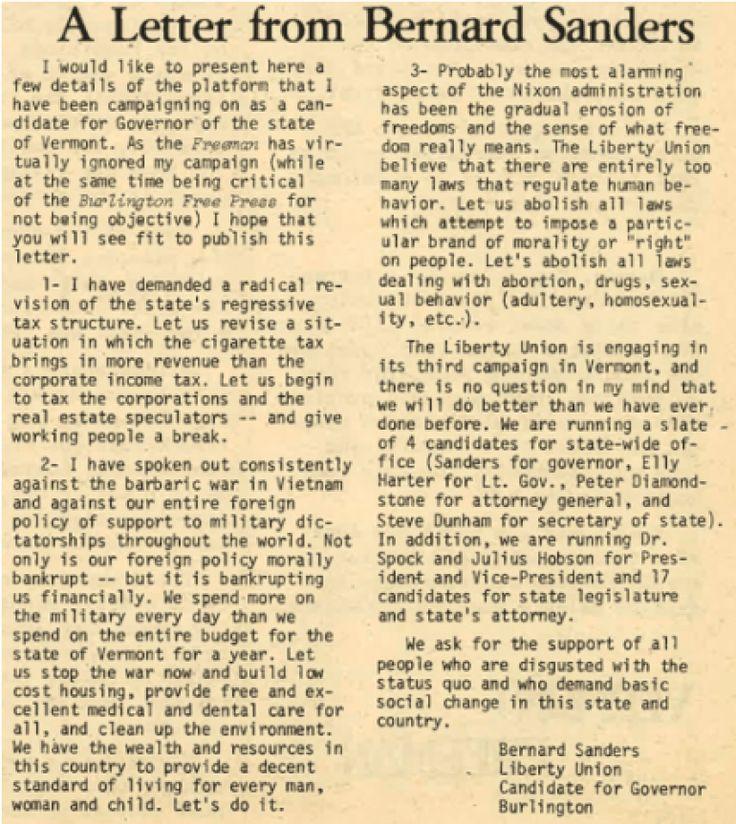 Bernie Sanders Letter