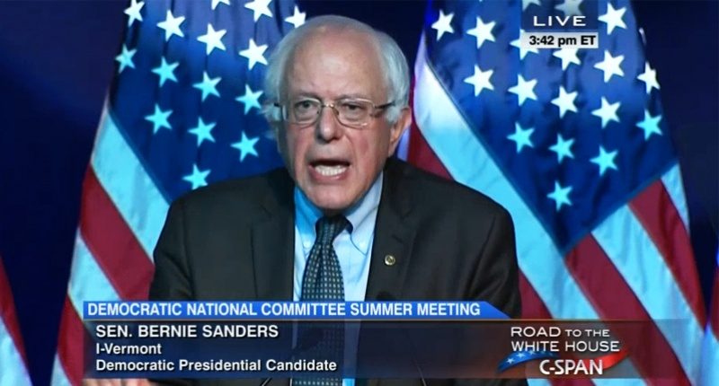 Bernie Sanders DNC Screen Grab