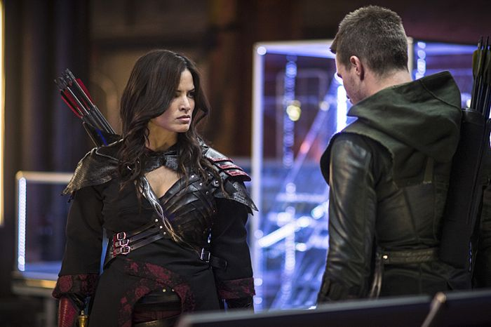"Arrow -- ""The Magician"" -- Image AR304a_0155b -- Pictured (L-R): Katrina Law as Nyssa al Ghul and Stephen Amell as Oliver Queen -- Photo: Ed Araquel/The CW -- © 2014 The CW Network, LLC. All Rights Reserved."