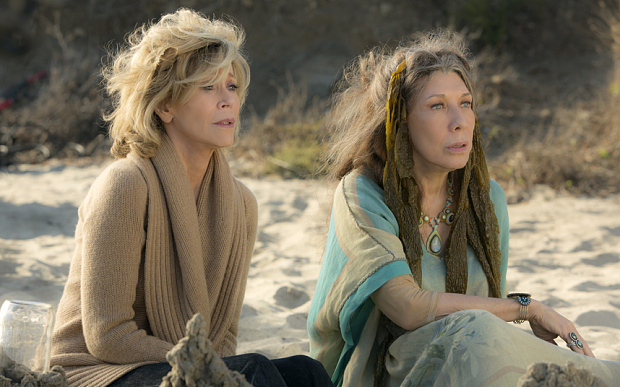 "Grace and Frankie Season 1 netflix handout .... Jane Fonda and Lily Tomlin in the Netflix Original Series ""Grace and Frankie"". Photo by Melissa Moseley for Netflix.Ê"