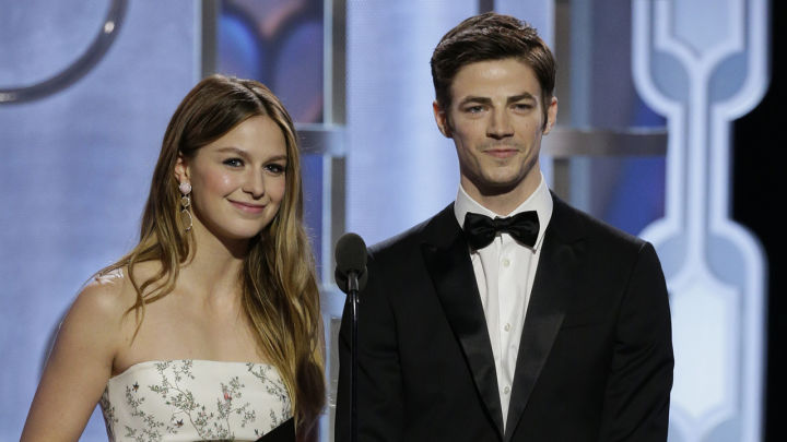 73rd ANNUAL GOLDEN GLOBE AWARDS -- Pictured: (l-r) Melissa Benoist, Grant Gustin, Presenters at the 73rd Annual Golden Globe Awards held at the Beverly Hilton Hotel on January 10, 2016 -- (Photo by: Paul Drinkwater/NBC)