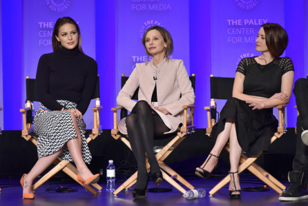 Mandatory Credit: Photo by Rob Latour/REX/Shutterstock (5613187u) Melissa Benoist, Calista Flockhart and Chyler Leigh 'Supergirl' TV series screening, Inside, PaleyFest 2016, Los Angeles, America - 13 Mar 2016