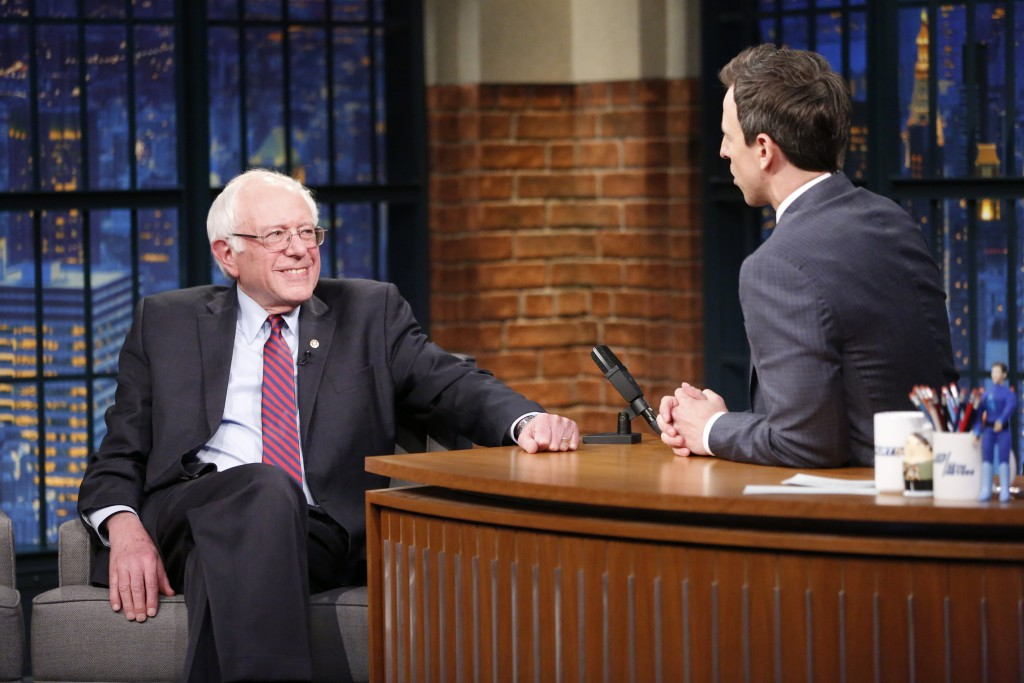 "The Democratic presidential primary may be getting serious, but Bernie Sanders took on a more humorous tone Thursday night when he played ""Ya Bernt"" with late night host Seth Meyers."