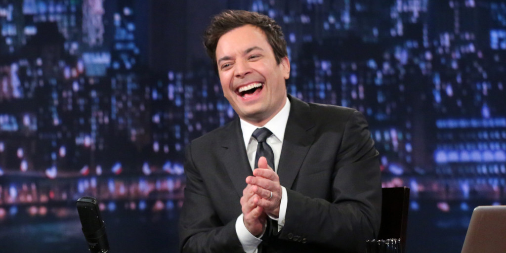 "This Feb. 21, 2013 photo released by NBC shows Jimmy Fallon, host of ""Late Night with Jimmy Fallon,"" on the set in New York. The program was nominated for an Emmy award for outstanding variety series, Thursday, July 18, 2013. (AP Photo/NBC, Lloyd Bishop)"