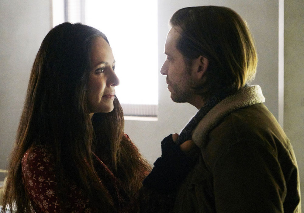 "12 MONKEYS -- ""Memory of Tomorrow"" Episode 213 -- Pictured: (l-r) Madeleine Stowe as Dr. Kathryn Railly, Aaron Stanford as James Cole -- (Photo by: Steve Wilkie/Syfy)"