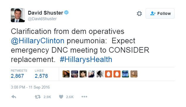 David Shuster Tweets about Hillary Clinton following her collapse.