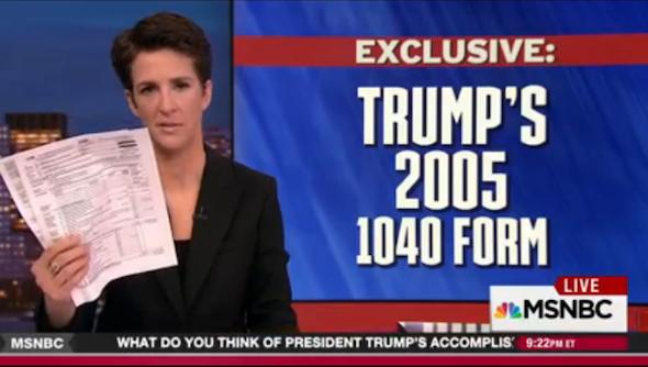 Maddow Trump Tax Return Liberal Values