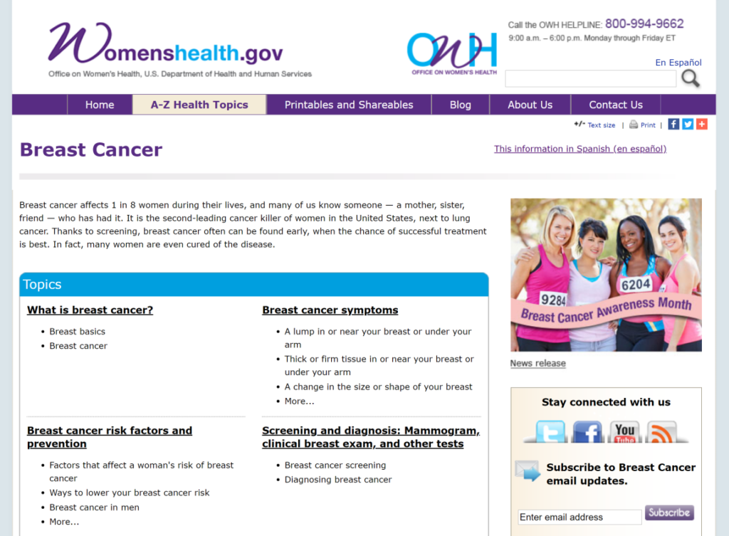 Breast cancer website suggest you